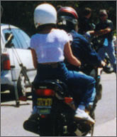 Pillion in t-shirt